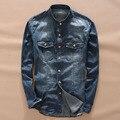 2017 Nova Primavera dos homens Chegada Moda Gola Denim Camisa Cowboy camisa de Manga Longa Retro Camisa Masculina 100% Algodão Fino camisa
