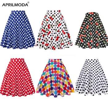 Falda Midi Skater para verano, faldas Rockabilly Vintage de pasarela, faldas Rojas sexys para mujer de 2018, faldas de algodón con diseño de lunares 50S 60S