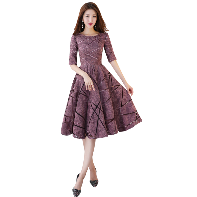 O neck Middle Length Half Sleeves Cheap Zipper   Bridesmaid     Dresses   2019 Satin Bean paste Color Prom   Dresses   Party Gowns