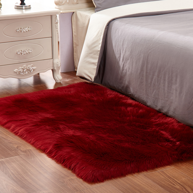Preferred yazi Luxury Rectangle Wine Red Sheepskin Hairy Carpet Faux Mat  JE93