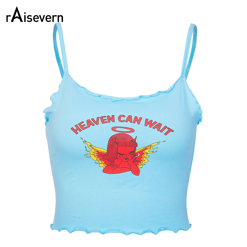Raisevern Cute Women Crop Top HEAVEN CAN WAIT Print Blue Tee Tops Harajuku Summer Tops Cropped Cami Tank Top Dropship floral chiffon dress long sleeve