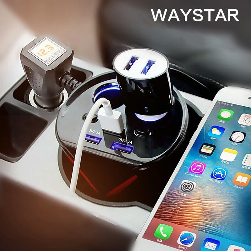 US $32 67 |WAYSTAR Car Charger Cigarette Lighter Power Splitter cup holder  Car Charger 6 2A 3 USB 12V 24V For iPhone iPad DVR GPS charge-in Mobile