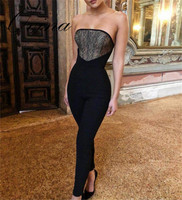 Black Strapless Sleeveless Lace Full Length Bodycon Bandage Jumpsuit Rompers Women Jumpsuit