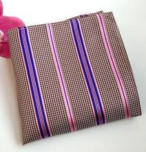 RBOCOTT Men's Floral Handkerchiefs Striped Pocket Squares Yellow Paisley & Plaid Hanky 25cm*25cm For Men Women Wedding Accessory