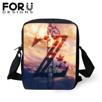 FORUDESIGNS  Anime Game The Legend of Zelda Print Handbags Women Bags Tote Messenger Bag Mini Cross-body Bag For Teen Boys Girls