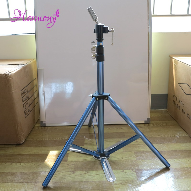 1pcs Blue Color Hair Salon Adjustable Aluminum Tripod Stand Mannequin Training Head Holder Wig Stand Clamp steel mannequin tripod stand hair salon adjustable tripod wig stand hairdressing training head clamp holder
