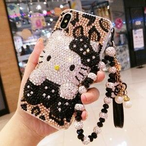 Image 2 - ための iphone × 3D ためブリンブリンクリスタルカバー iphone 7/8 プラス真珠 KT 猫 diy の携帯電話ケースのための iphone xsmax 6 6 s plus 高級 fundas