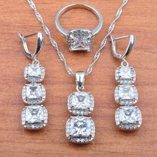 925 Sterling Silver Sets Luxurious Wedding Jewelry Austria Natural Crystal For Women Necklace Pendant Earrings Ring JS0419(China)