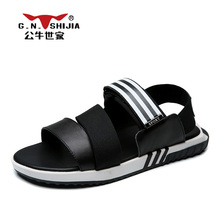 G.N. SHI JIA Hiqh Quality Cow Leather Elastic Band Rubber Sole Men's Sandal Fashion Striped Design Male Leisure Shoes 888407