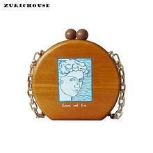 ZURICHOUSE 2019 Wood Bags Women Personality Illustration Design Round Box Shoulder Crossbody Bag Luxury Wooded Handbags Ladies luxury antique wooded