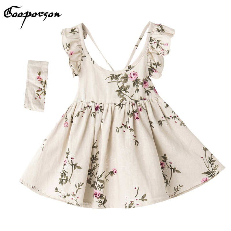 Girls Backless Dress Kids Girl Summer Linen Printed Dress With Hairband Lovely Baby Girl Clothes Dresses Children Clothing 2017 new fashion dresses girls lemon printed dress children sundress baby girl clothes bowknot dress for kids girl dress 2 color