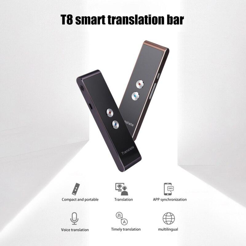 Traducteur vocal intelligent Portable T8 deux voies en temps réel 30 traduction multilingue pour l'apprentissage des affaires de voyage
