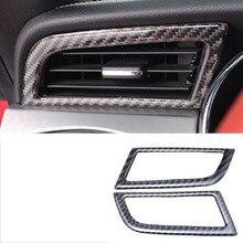 цены lsrtw2017 carbon fiber car dashboard side vent trims for ford mustang 2015 2016 2017 2018 2019