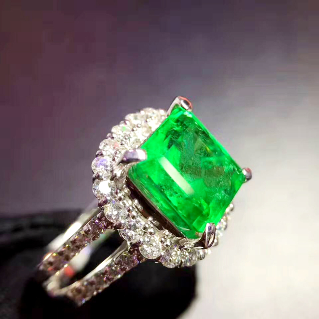 AEAW 4ct AAA Lab Created Colombian Emerald Cushion Emgagement Ring Genuine Solid 14k White Gold with Moissanite for Women