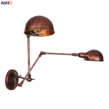 IWHD Vintage Nordic LED Wall Light Retro Rust Iron Adjustable Wandlamp Industrial Wall Lights For Home Applique Murale Luminaire цена 2017