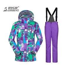 high experience горнолыжные костюмы,Женский зимний лыжный костюм High Experience, женский костюм для сноуборда , женская спортивная зимняя горнолыжная одежда,Теплый, водонепроницаемый, женский сноубордический костюм