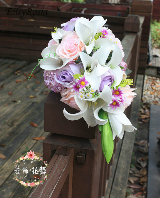 2c98117e993e White Lily Purple Wedding Bouquets Waterfall Artificial Wedding Flowers  Bridal Bouquet De Mariee Blanc Rose Roze Bride Bouquets