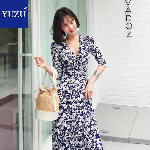 34a498a46387b Wrap Dress Elegant Floral Print Black And White Maxi Dress Fall 2018 Half  Sleeve V Neck