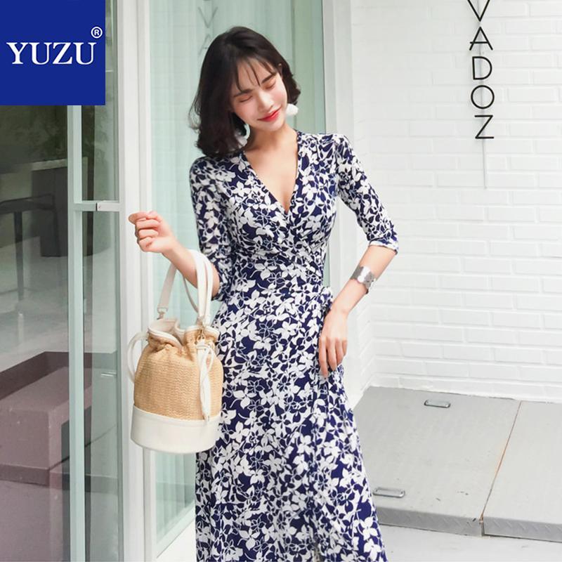 Wrap Dress Elegant Floral Print Black And White Maxi Dress Fall 2018 Half Sleeve V Neck Party Office Korean Women Clothes