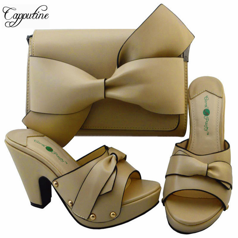 Newset Elegant Ladies Shoes And Purse Set Africa le Style High Heels Shoes And Bag Set For Party 7Colors Free Shipping YM0017