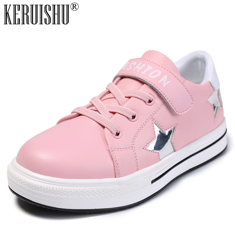 KERUISHU New Children Shoes For Girl Shoes Casual Kids Sneakers For Girls Leather Shoes Child Pink White Flat Shoe Size 28-38
