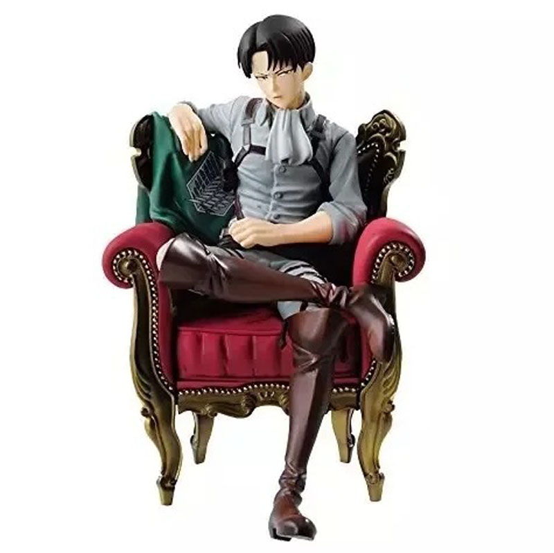 5 Attack on Titan Shingeki no Kyojin Anime Rivaille Levi Ackerman Sit on Sofa Boxed 12cm PVC Action Figure Model Doll Toys Gift baseus little devil case for iphone 7 plus black