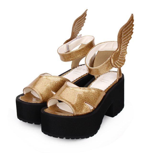 Punk Heel large Sandals Lolita Open Summer Wings Toe Size Angel Muffin Platform High Us54 15 Girls Cosplay 5Off Women's Anime Shoes In SVUzqMp