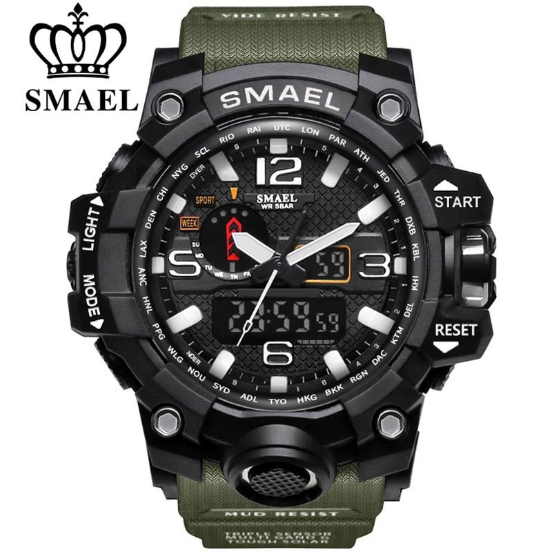 SMAEL Marque Double Affichage Montres Militaire Alarme Quartz Horloge Mâle Cadeau LED Numérique Hommes de Montre de Sport pour Hommes Heures relogio