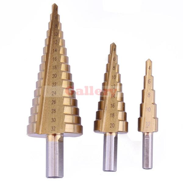 3 Pcs Set Triangle Shank Step Drill Pagoda Ladder 4-12 4 20/4 32 Bit 12 Drill Bit