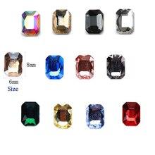 8x6mm 10/50pcs 3D Nail Art Rhinestones Flatback Shaped Glass AB Crystal Gem Stone Crystals octagon shape