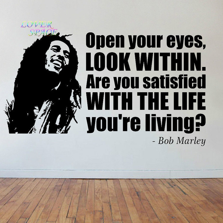 Famous Phrases About Life Bob Marley Face & Quote Vinyl Sticker Decal Wall Art Phrase Famous