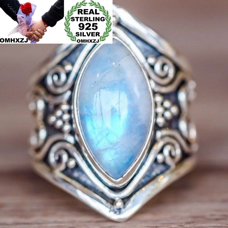 OMHXZJ Wholesale European Fashion Woman Man Party Wedding Gift Silver Vintage 4 Colors Moonstone Topaz Taiyin Ring RR333OMHXZJ Wholesale European Fashion Woman Man Party Wedding Gift Silver Vintage 4 Colors Moonstone Topaz Taiyin Ring RR333