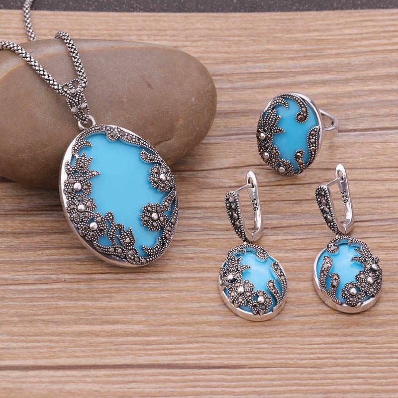 e5423a1f3eec Sellsets Color de plata antiguo individualidad joyería de la flor grande  resina azul y negro conjuntos