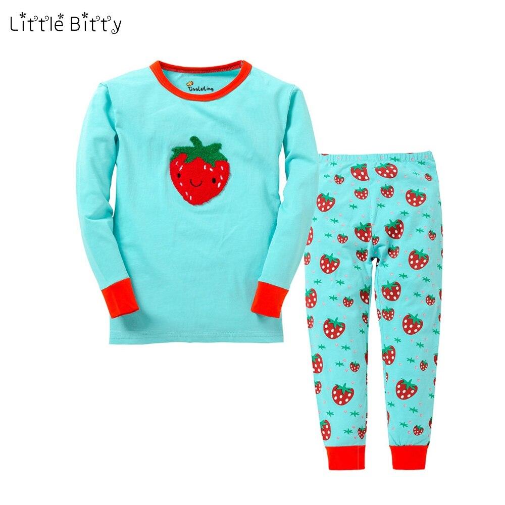 New Cotton Girls Pajamas Children Strawberry Cartoon Blue Pajama Sets Children 2pc Nightwear Girls Christmas Pajamas Pijama Kid