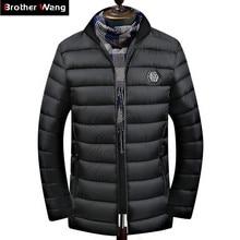 2019 Новинка зимы для мужчин's повседневное теплая куртка утепленная подпушка хлопок тонкий парки Пальто Мужской брендовая одежда черный, красн