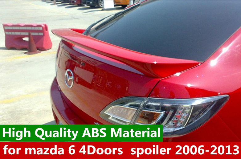 for <font><b>mazda</b></font> <font><b>6</b></font> 4Doors Sedan <font><b>spoiler</b></font> 2009 to <font><b>2014</b></font> <font><b>mazda</b></font> <font><b>6</b></font> <font><b>spoiler</b></font> High Quality ABS Material Car Rear Wing Primer Color for <font><b>mazda</b></font> <font><b>6</b></font> image