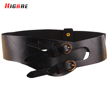 Female Genuine Leather Double Pin Buckle Wide Belt Cummerbund Women Elastic High Quality Strap Belts For Dress Decoration Black