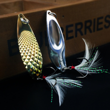WALK FISH 1PCS 10G/15G Hagworm Sequins Spoon Fishing Lure Spoon Lures Sequin Paillette Hard Metal Spinner Spoon with Feather
