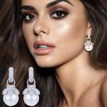 GODKI 35mm Luxury Imitation Pearl Dangle Earrings For Women Wedding Full Cubic Zircon Crystal CZ Dubai Indian Bridal Earrings