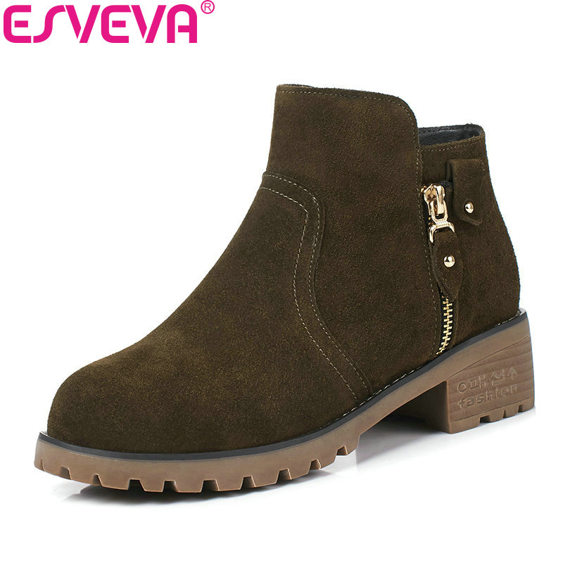 ESVEVA 2018 Women Boots Inside PU Short Plush Cow Suede Round Toe Med Heel Ankle Boots Slim Look Fashion Ladies Boots Size 34-40 esveva 2018 women boots zippers black short plush pu lining pointed toe square high heels ankle boots ladies shoes size 34 39