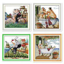 European character patterns DIY embroidery cross stitch taste life home fabric decoration