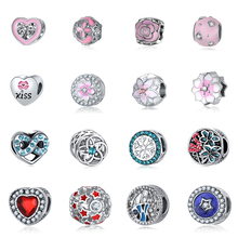 New Silver Plated Pendant Beads Flower Kiss Heart Snow with crystal Fish Kind of Charm DIY Pendants Fit Women DKG Bracelet