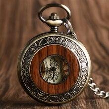 Vintage Houten Mechanisch Zakhorloge Romeinse Cijfers Creative Carving Bloem Wijzerplaat Houten Horloges Hanger Ketting Vrouwen Mannen Geschenken