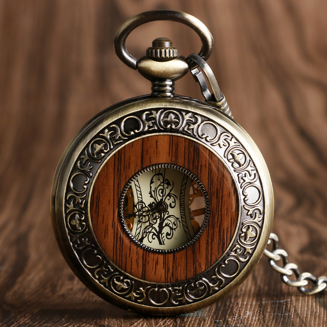 Vintage Wood Mechanical Pocket Watch Roman Numerals Creative Carving Flower Dial