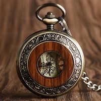Vintage bois mécanique montre de poche chiffres romains sculpture créative fleur cadran en bois montres pendentif chaîne femmes hommes cadeaux