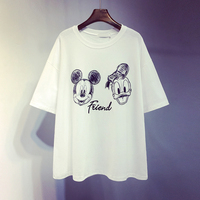 Cartoon Tshirts for Students New Summer Fashion All match Loose Short Sleeve Pullovers Top Embroidery Casual Female T shirt