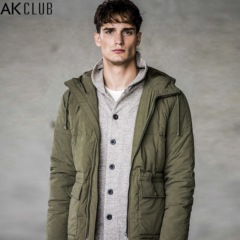 AK CLUB Brand Men Down Jacket 80% Grey Duck Down Content 240g Nylon Water Repellent Fabric Quilting Men Down Coat Winter 1711025