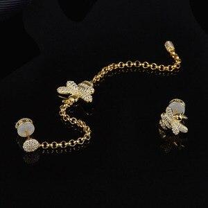 Image 5 - Женские асимметричные серьги SLJELY, длинные серьги из стерлингового серебра 925 пробы золотистого цвета с Пчелой, инкрустированные цирконием, модные вечерние ювелирные изделия