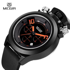 Image 2 - Megir fashion hot mens quartz watches analog chornograph brand wristwatch man silicone band waterproof hour 2004 free shipping