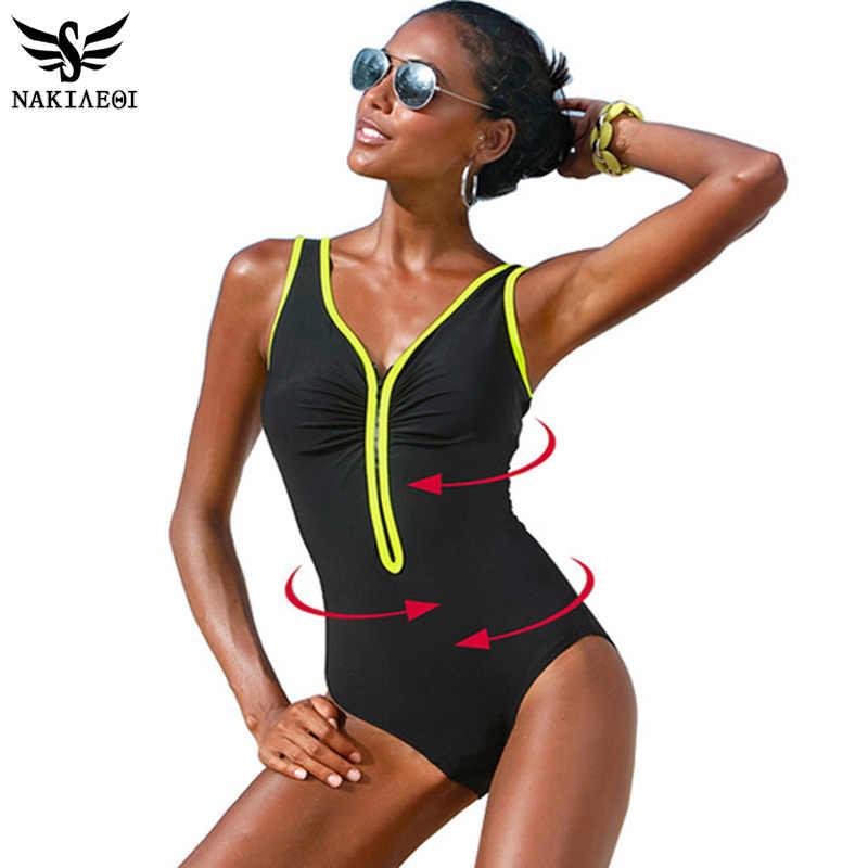 797534734302 NAKIAEOI One Piece Swimsuit 2019 New Plus Size Swimwear Women Vintage  Bathing Suits Summer Beach Wear